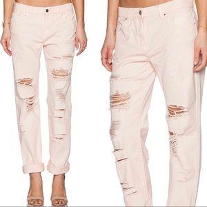 BlankNYC Destroyed Boyfriend Jeans Ditz Blush Pink